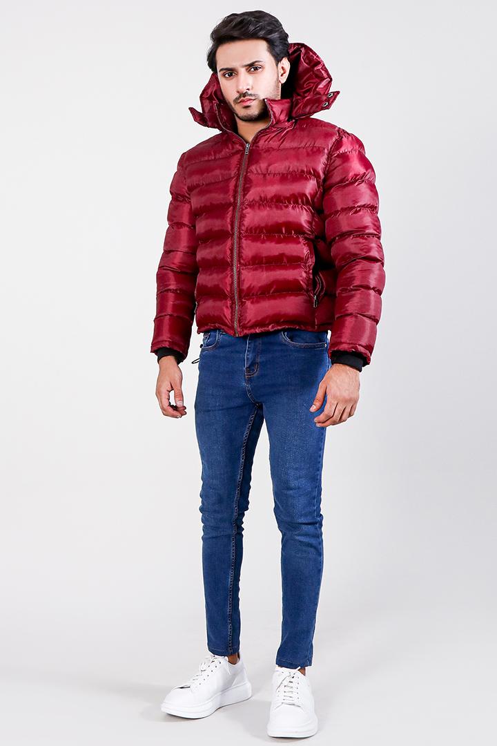 Darren Red Hooded Puffer Jacket Full Front