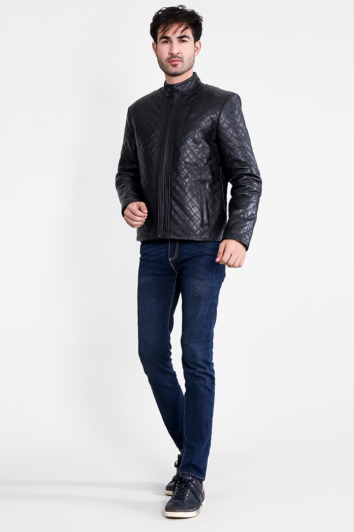 Coffmen Quilted Black Leather Jacket Full Front