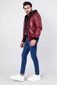 Bouncer Biz Red Hooded Bomber Leather Jacket Side Full