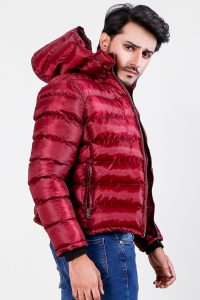 Darren Red Hooded Puffer Jacket Side 1