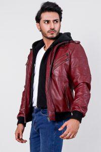 Bouncer Biz Red Hooded Bomber Leather Jacket Half side