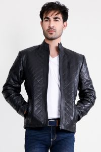 Coffmen Quilted Black Leather Jacket Half Front