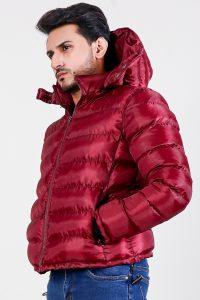 Darren Red Hooded Puffer Jacket Side 2