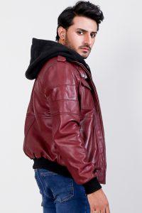 Bouncer Biz Red Hooded Bomber Leather Jacket Side
