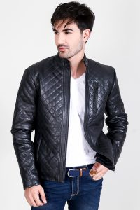Coffmen Quilted Black Leather Jacket Half Front 2