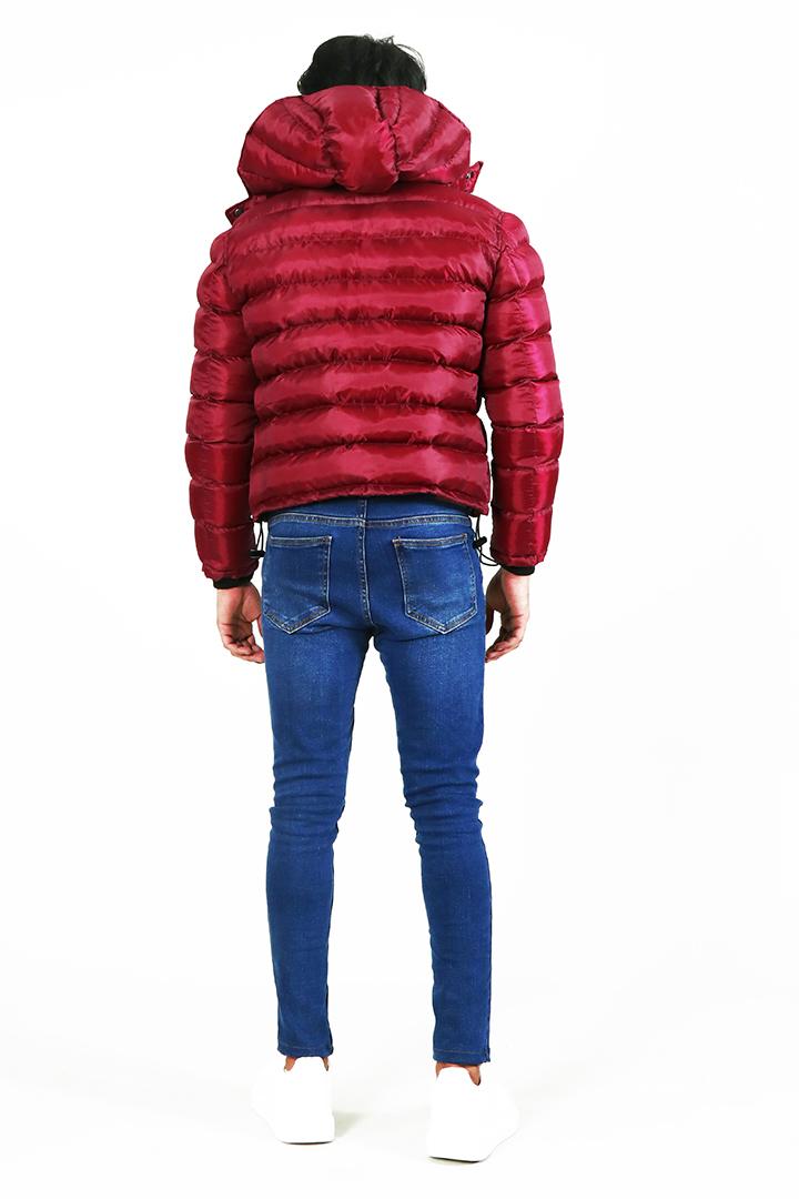 Darren Red Hooded Puffer Jacket Full Back