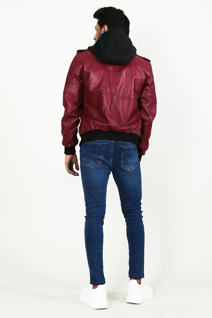 Bouncer Biz Red Hooded Bomber Leather Jacket Full Back