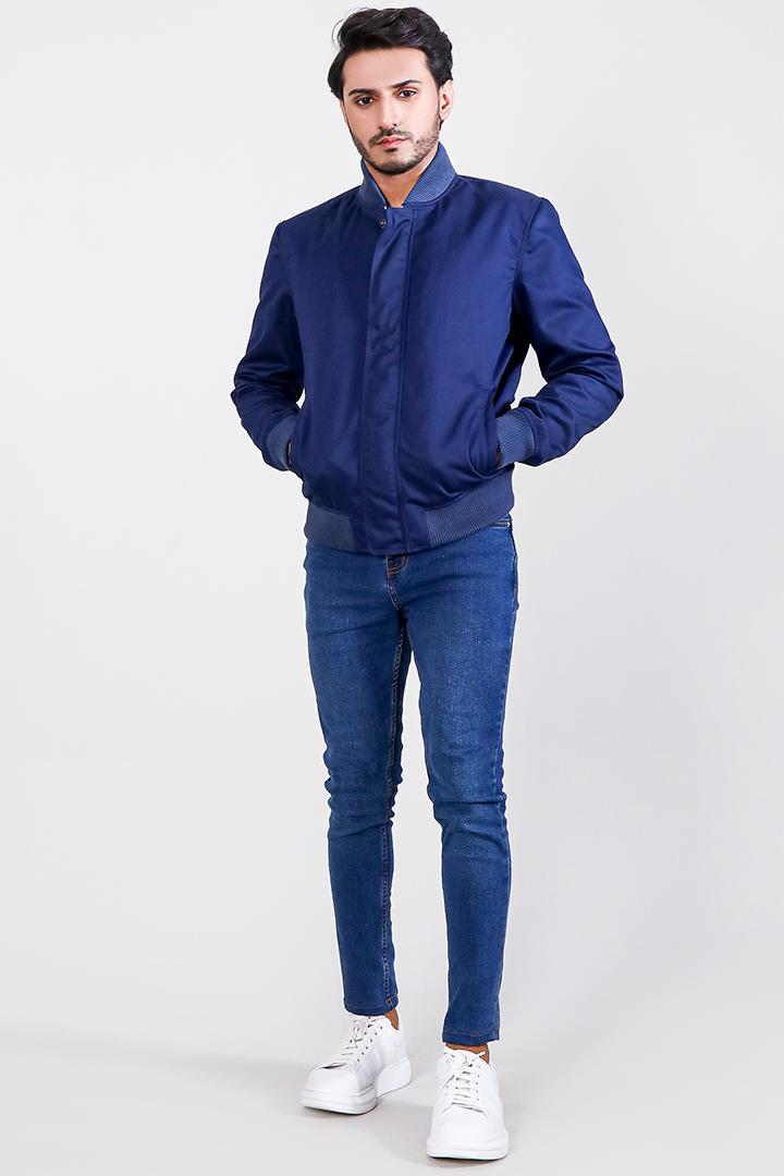 Lavendard Blue Cotton Bomber Jacket Full Front