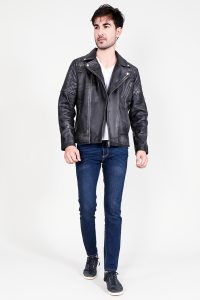Danny Quilted Distressed Black Leather Biker Jacket Full Front 2