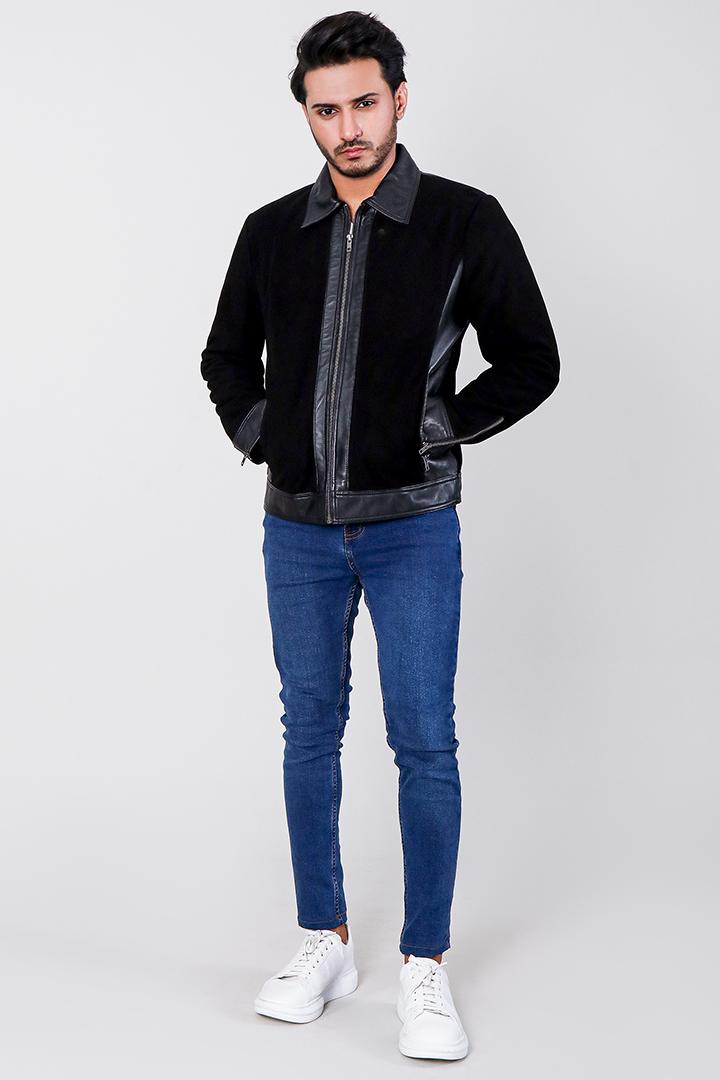 Stallon Black Hybrid Suede Jacket Full Front
