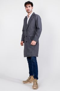 Drake Grey Wool Single Breasted Coat Full Side
