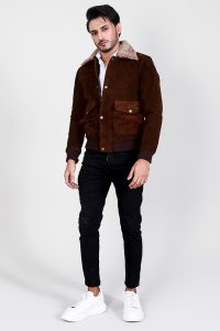Eaton Brown Suede Bomber Jacket Full Front 2