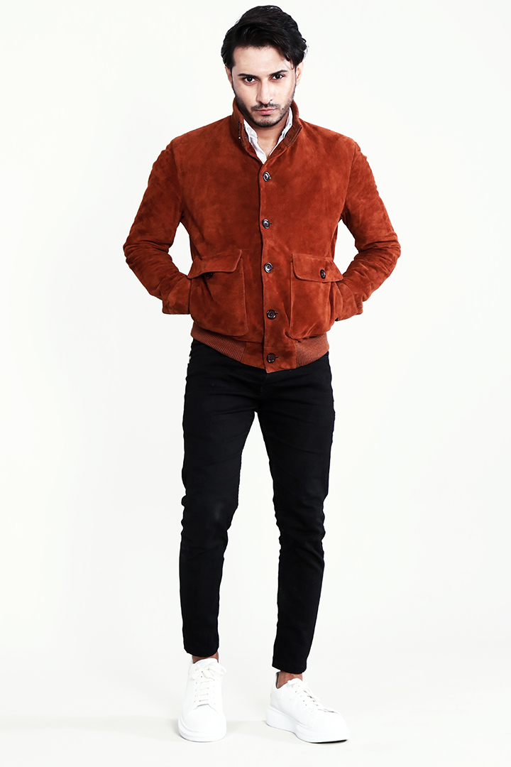Ethan Brown Suede Bomber Jacket Full Close