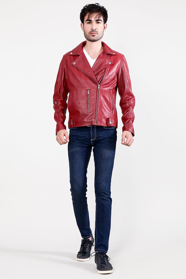 Mystical Red Leather Biker Jacket Full Front