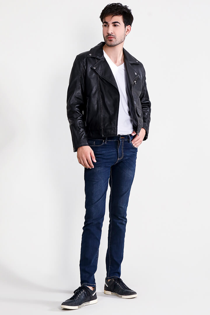 Furton Brown Biker Bomber Leather Jacket Full Front