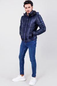 Alps Blue Hooded Windbreaker Jacket Front Side