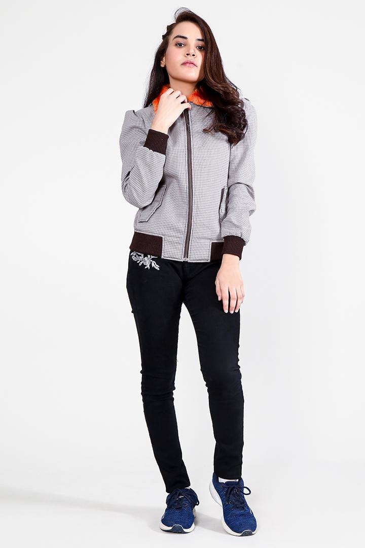 Flashback Grey Fabric Bomber Jacket Full Front
