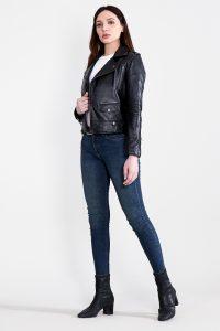 Sally Mae Black Leather Biker Jacket Full Side