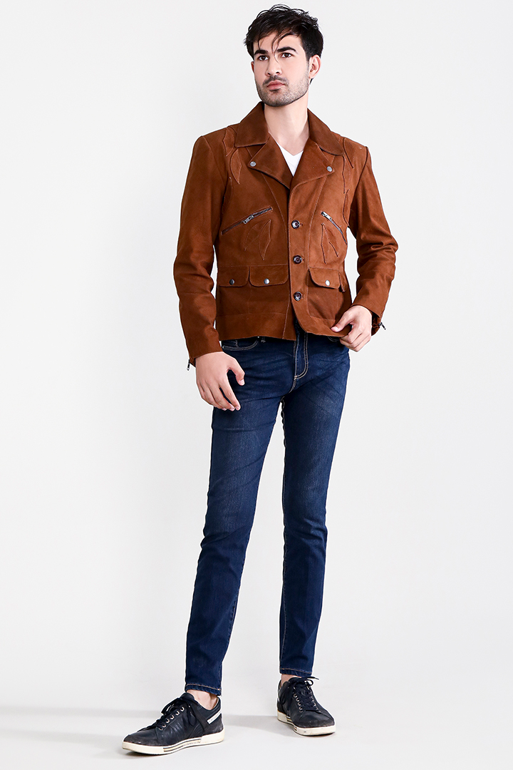 Borges Brown Suede Jacket Full Front
