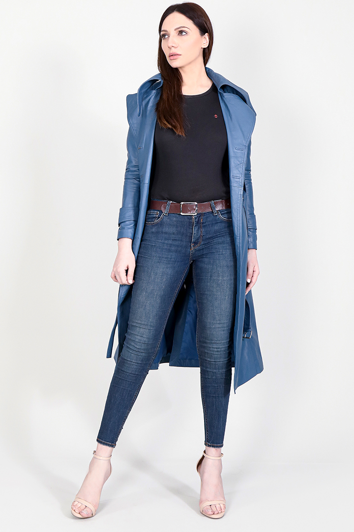 Missoni Blue Leather Trench Coat Full Front