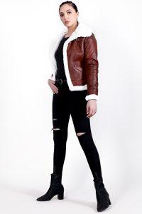 Vanda Fur Brown Leather Jacket Full Side