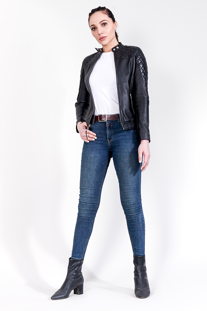 Marilyn Quilted Black Leather Jacket Full Front