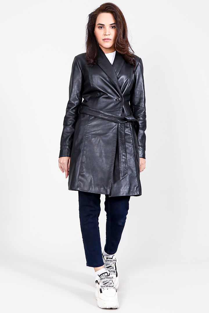 Luxe Black Leather Trench Coat Full Front