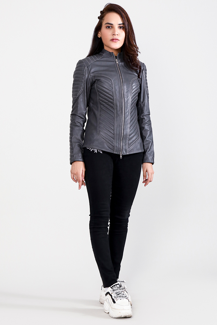 Celeste Quilted Grey Leather Jacket Front Full
