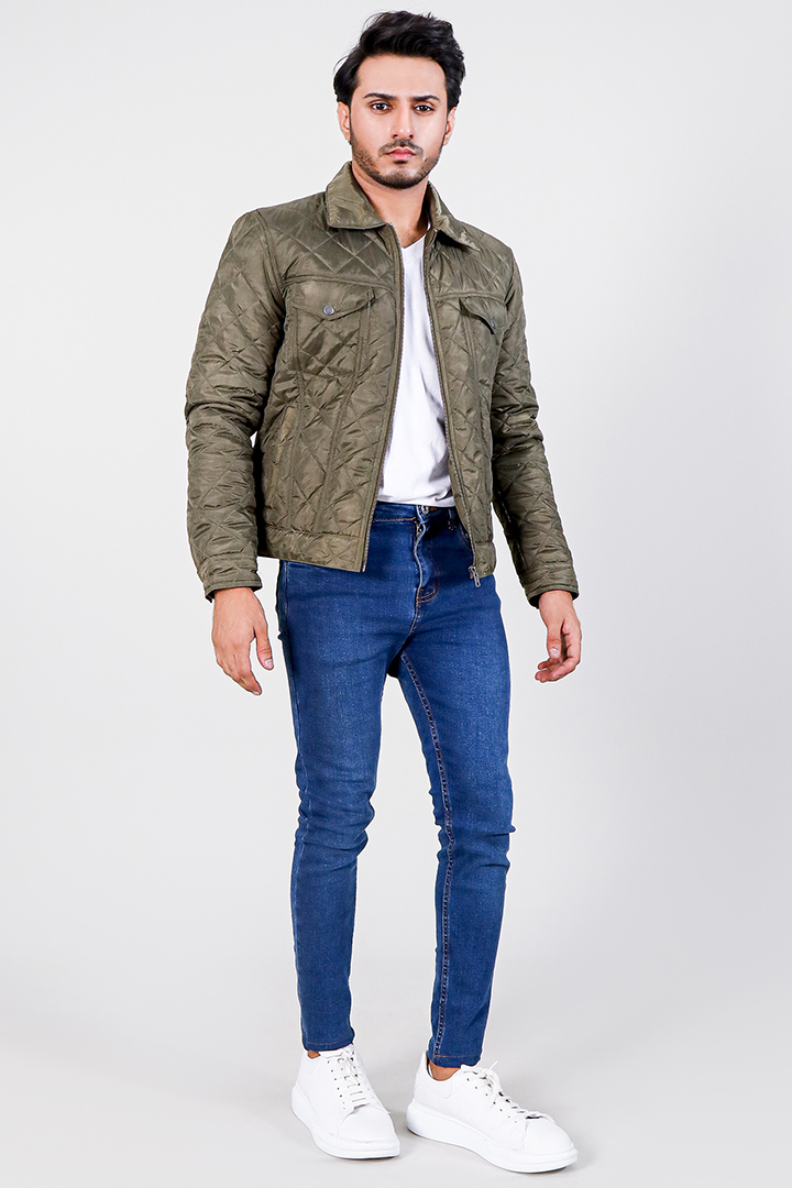 Jimmy Quilted Green Windbreak Jacket Full Front