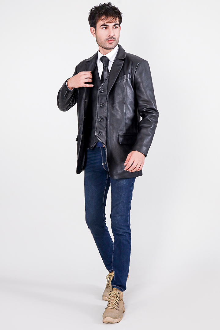 Ray Cutler Black Leather Blazer Full Front