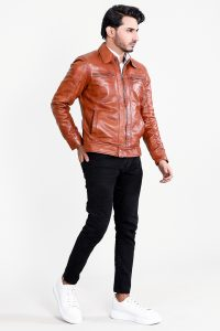 Eaton Brown Suede Bomber Jacket Full Front