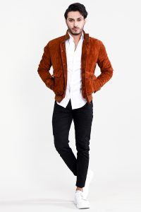 Ethan Brown Suede Bomber Jacket Full Open