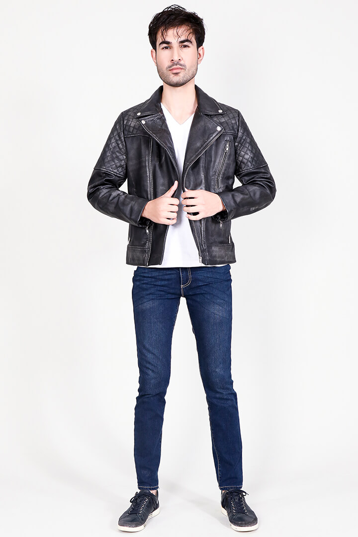 Danny Quilted Distressed Black Leather Biker Jacket Full Front