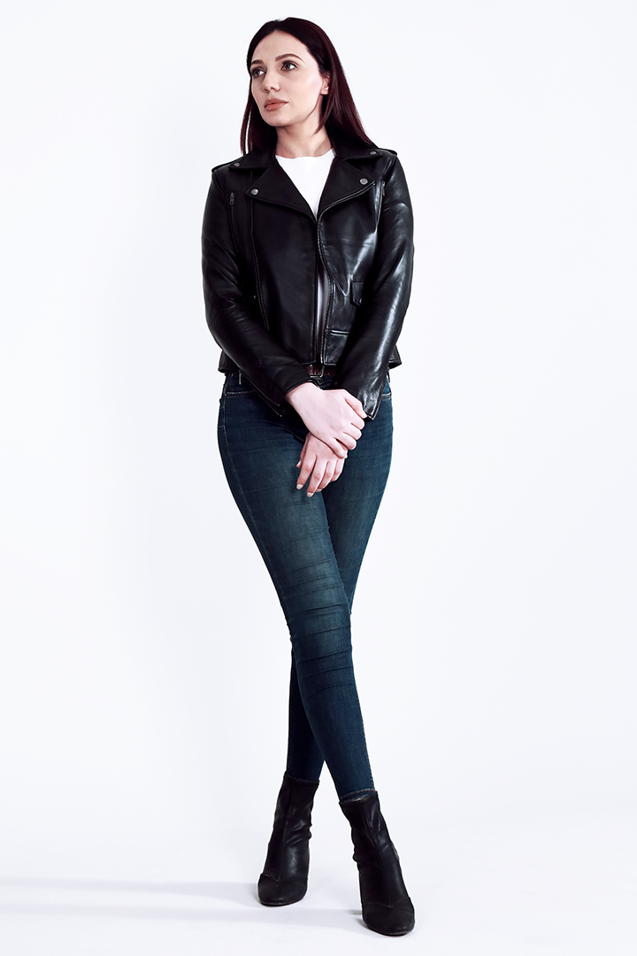 Sally Mae Black Leather Biker Jacket Full Front