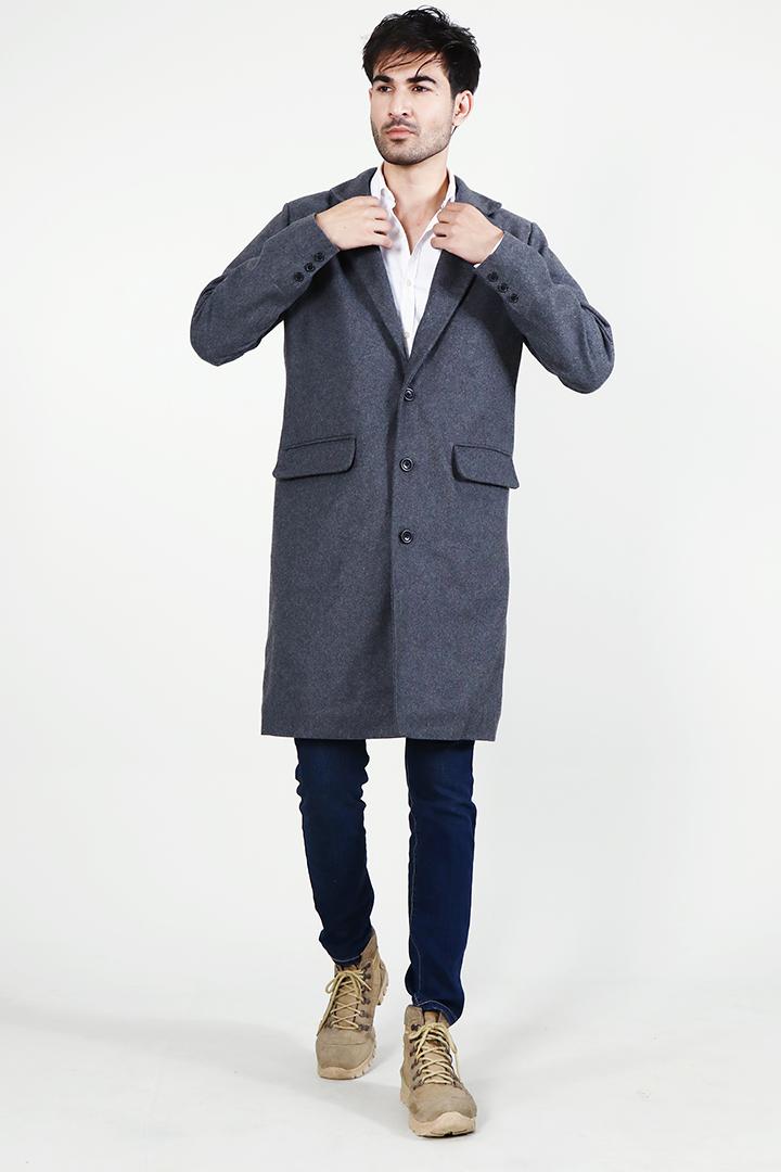 Drake Grey Wool Single Breasted Coat Full Front