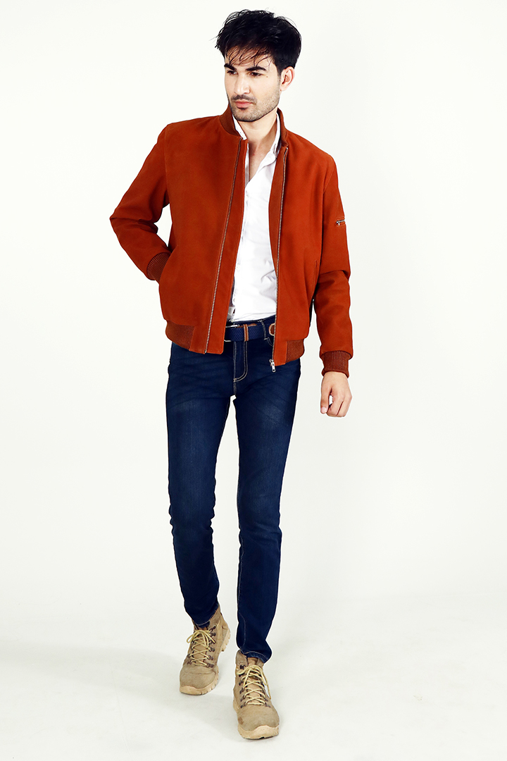 Blain Brown Suede Bomber Jacket Full Front