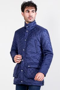 Vincent Ally Quilted Blue Windbreaker Jacket Front