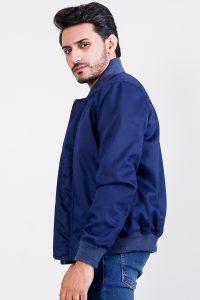Lavendard Blue Cotton Bomber Jacket Half Side