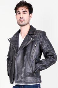Danny Quilted Distressed Black Leather Biker Jacket Side Half