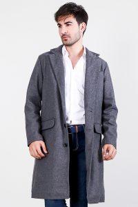Drake Grey Wool Single Breasted Coat Front Half