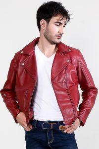 Mystical Red Leather Biker Jacket Half Open