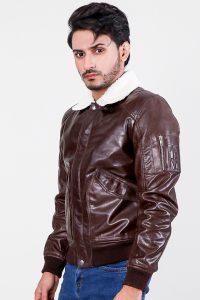 Furton Brown Biker Bomber Leather Jacket Half Side