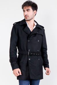 Detective Black Wool Double Breasted Coat Half Front