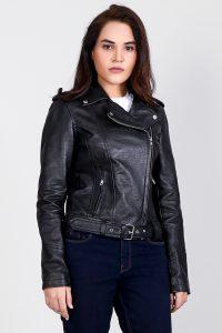 Carolyn Black Crocodile Leather Biker Jacket Half Front