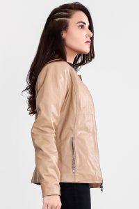Nexi Cream Leather Biker Jacket Half Side