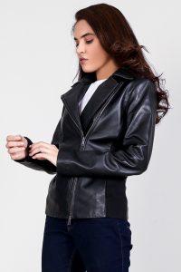 Tomachi Black Leather Biker Jacket Half Side
