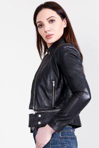 Rave Black Leather Jacket Half Side