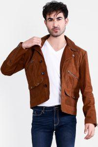 Borges Brown Suede Jacket Half Front