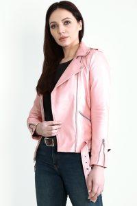 Haley Rey Pink Leather Biker Jacket Half Side
