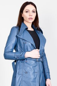 Missoni Blue Leather Trench Coat Half Side